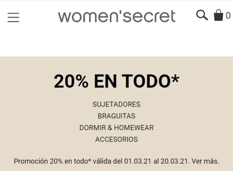 20% de descuento en todo en Women'secret