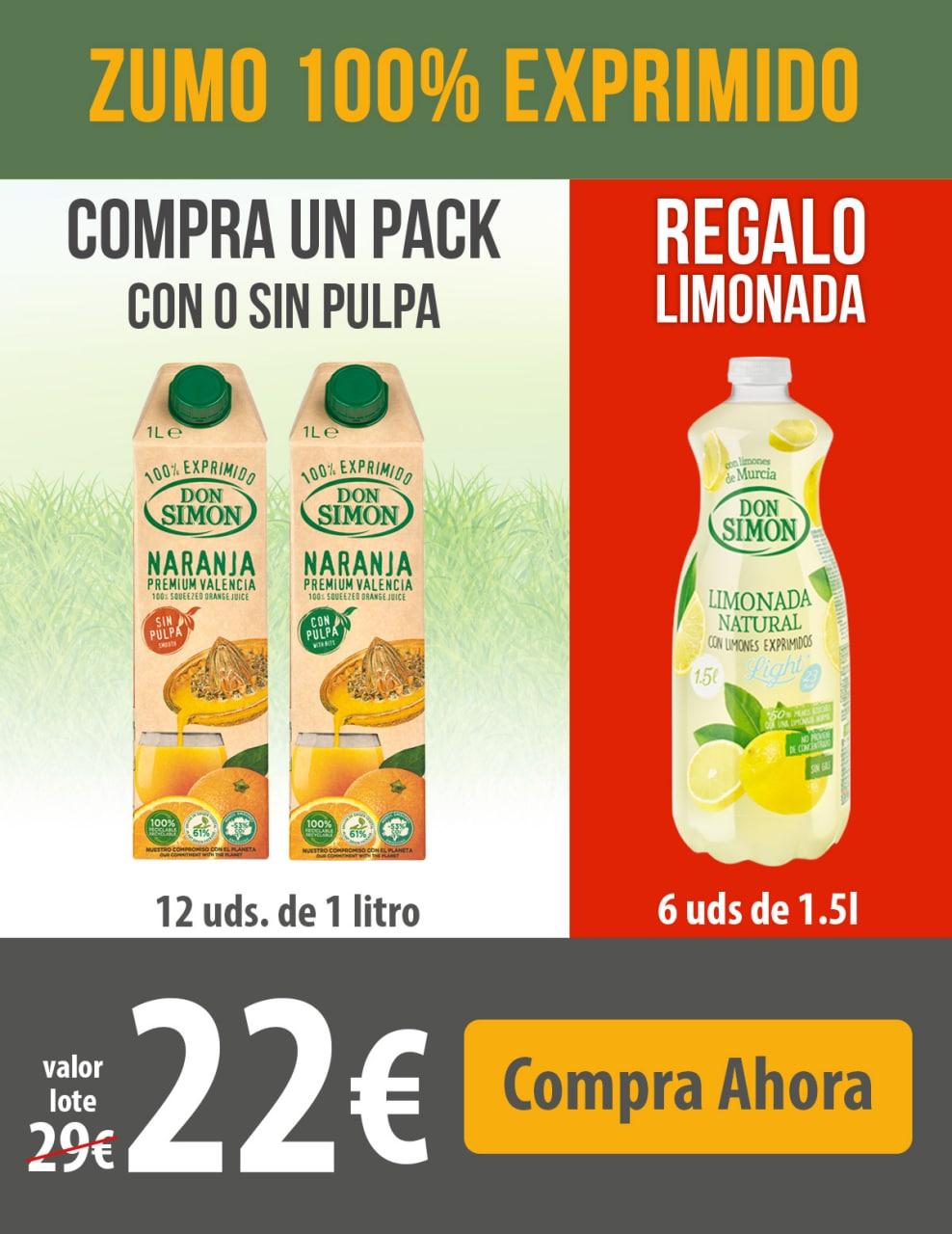 12x1L Zumo Naranja (con o sin pulpa) + 6x1,5L Limonada de Regalo + envío gratis
