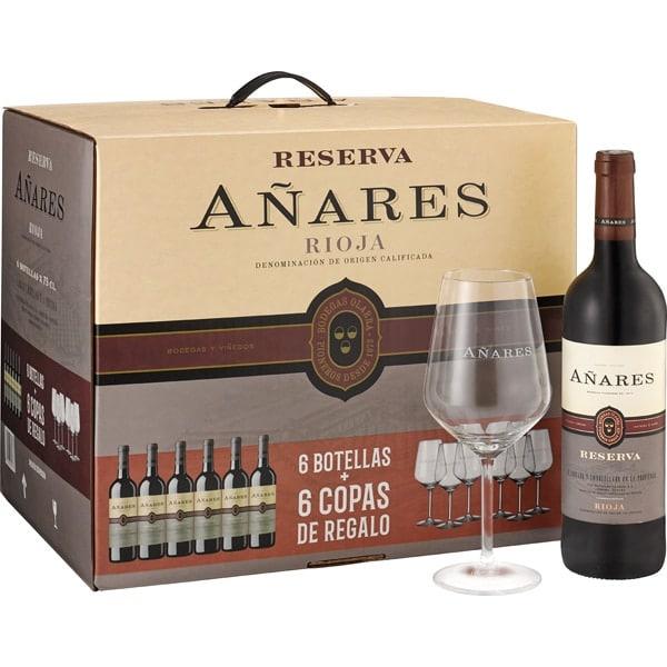 6x 75cl Vino tinto reserva DOCa Rioja + 6x copas