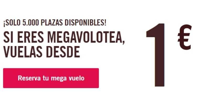 Solo hoy vuelos para miembros Megavolotea en Volotea