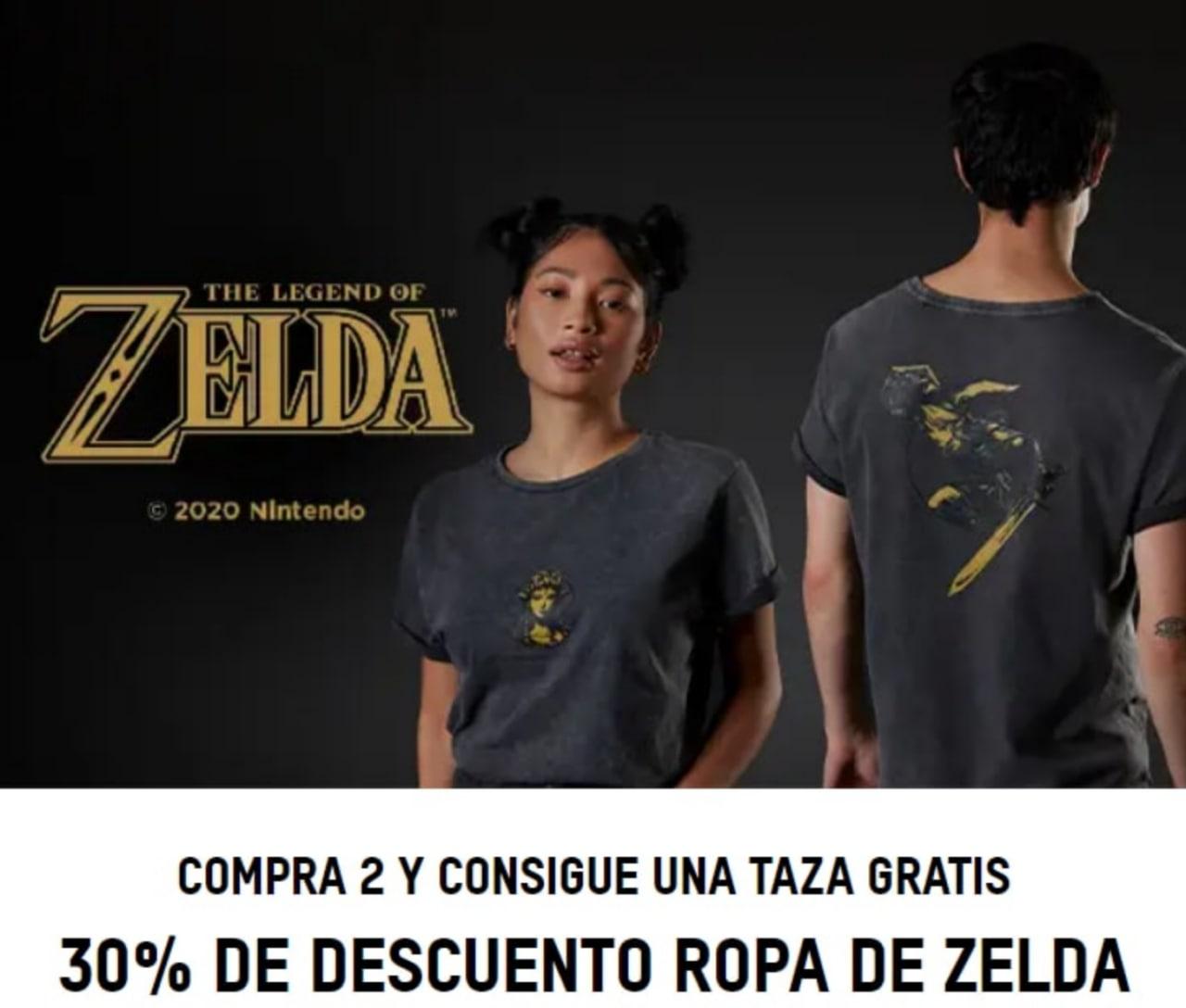 30% Dto. Ropa Legend of Zelda + Compra 2 Llévate Taza gratis