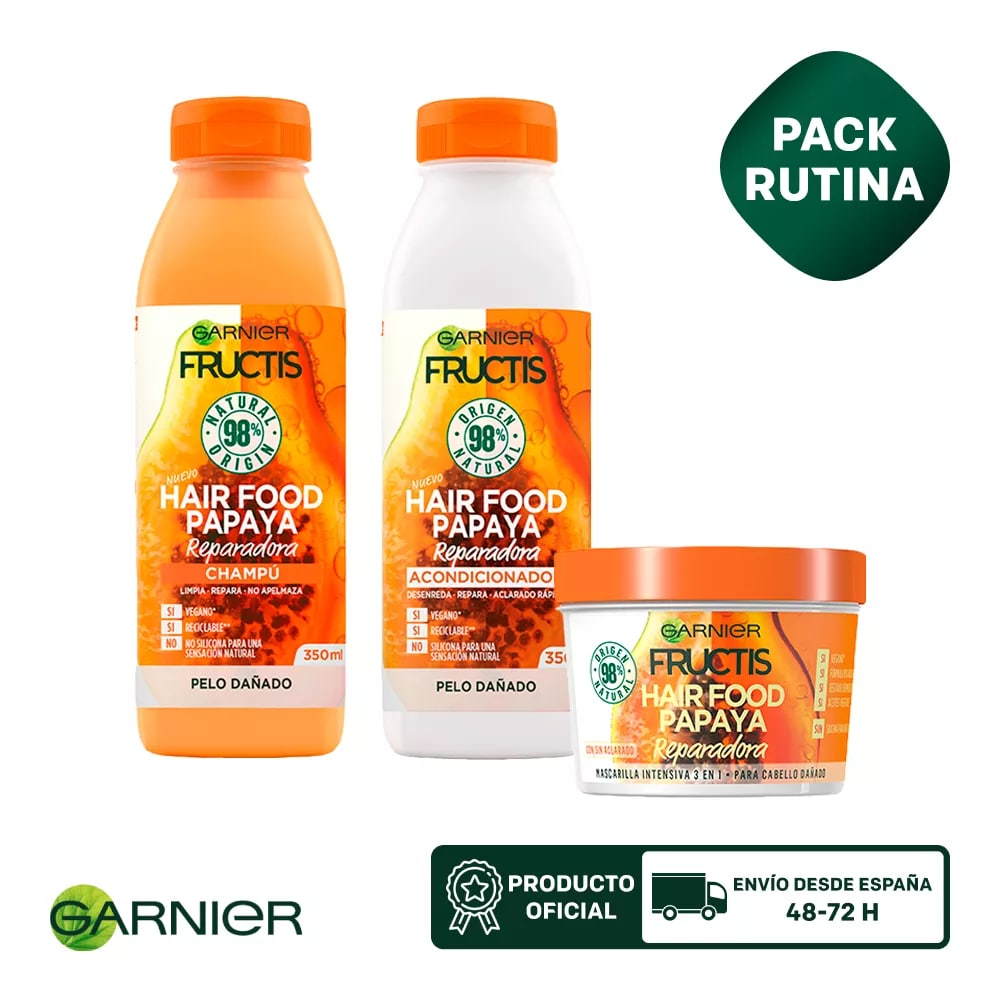 GARNIER Fructis Hair Food Champu + Mascarilla para Pelo Seco 3 en 1 + Acondicionador
