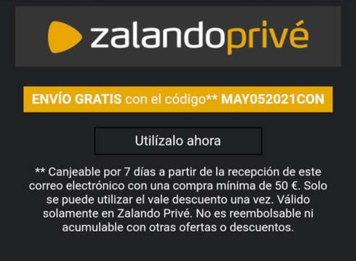Gastos de envío gratis en pedidos +50€ en Zalando Privé