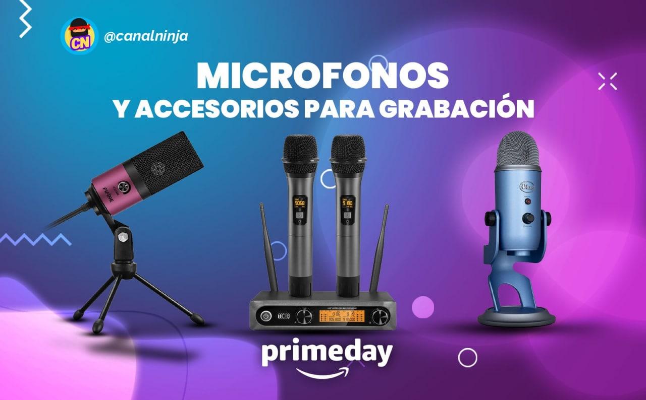Recopilación de micrófonos y accesorios para grabación