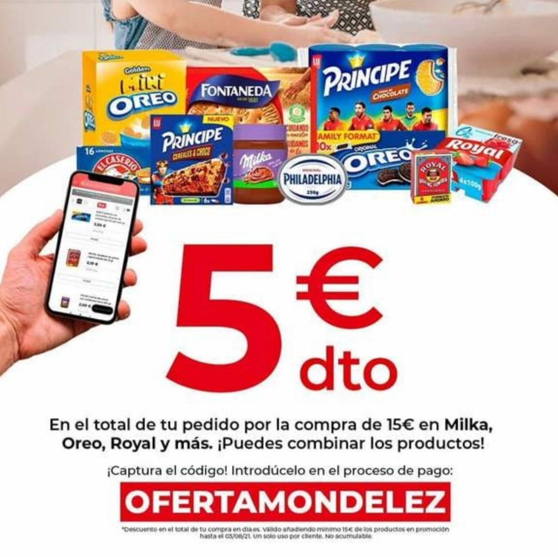 5€ Dto. en compras +15€ en marca Oreo, Principe, Royal y más en Día