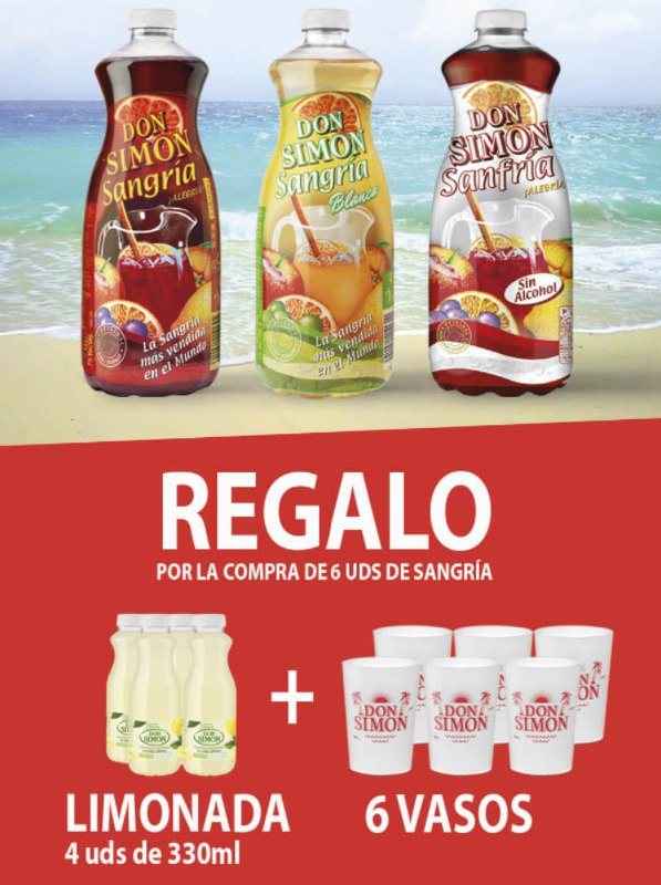 6x1,5L Sangría + 4x330ml Limonada + 6 Vasos Don Simón con envío gratis