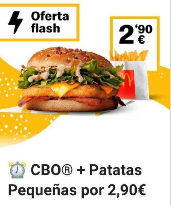 CBO + Patatas en McDonald's (Oferta semanal)