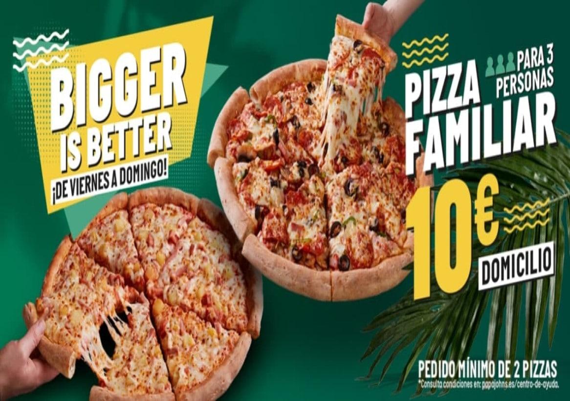 2 pizzas familiares a 10€ cada unidad