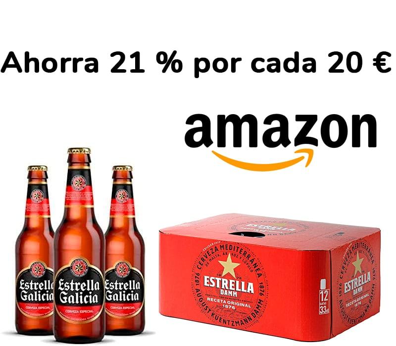 Ahorra 21 % por cada 20 € de compra en Cervezas Amazon