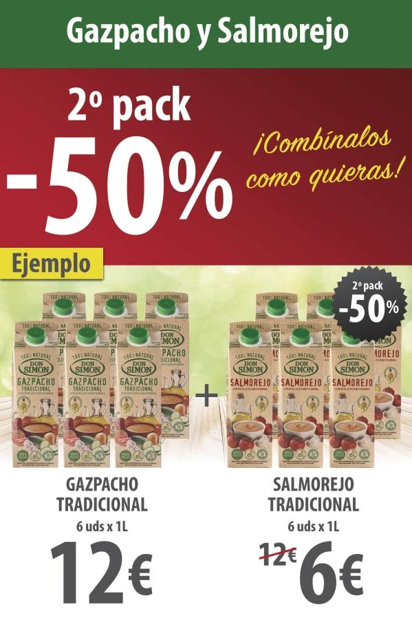 Gazpacho y Salmorejo Don Simón con -50% dto en el 2ª pack