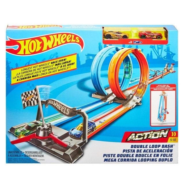 Hot Wheels Double Loop Dash con dos coches