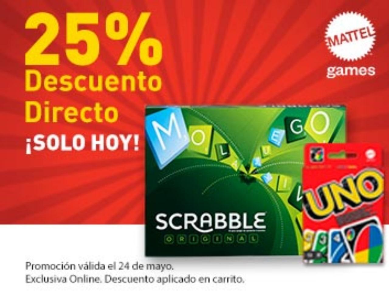 """25% Dto. directo en juegos de mesa Mattel Games (UNO, Scrabble, Pic Flip, etc.) en Toys """"R"""" Us"""