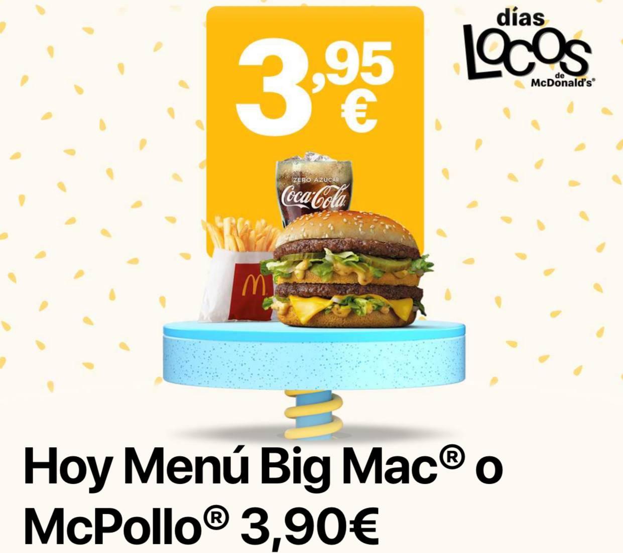 Menú Big Mac o Mcpollo con los días locos de McDonald's